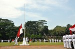 The sequence of the flag raising